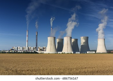 coal fired power station at sunrise, Pocerady, Czech republic