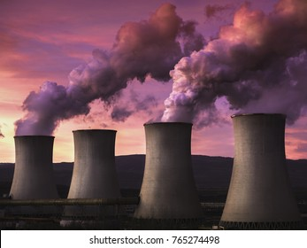 coal fired power station at sunset, Tusimice, Czech republic