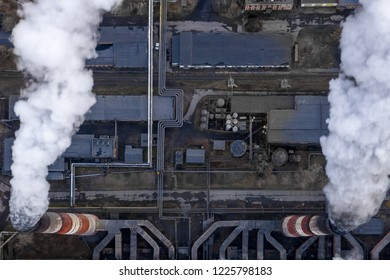 Coal fossil fuel Power Plant smokestacks emit carbon dioxide pollution