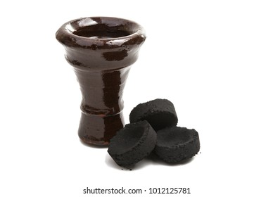 coal for hookah isolated on white background