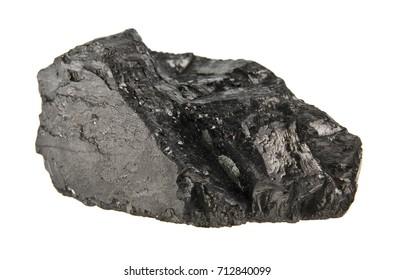 coal isolated on white background close-up