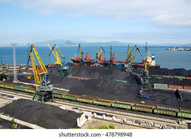 Coal loading on a vessel in port Nakhodka (Russia, Far East)