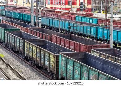Coal , metal, iron square tube is transported in railway train marshaling yard