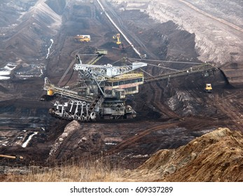 coal  mine with bucket wheel excavator. mining industry.