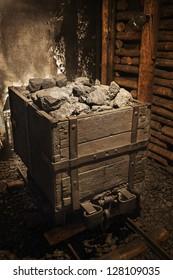 Coal mine cart full of coal