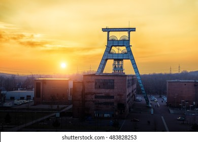 coal mine in sunset