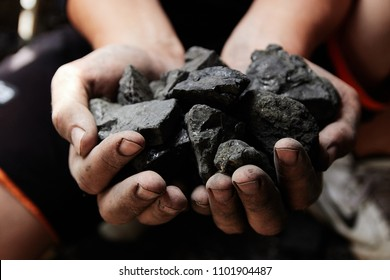 Coal miner in the man hands of coal background. Coal mining or energy source, environment protection. Industrial coals. Volcanic rock.