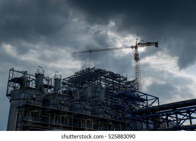 Coal Mining Industrial with Dark Sky