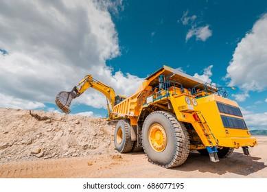 Coal mining in open pit