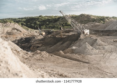 Coal mining at an open pit. Coal mine in Russia