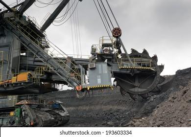 Coal mining in rainy day
