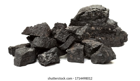 Coal pile photo on white background