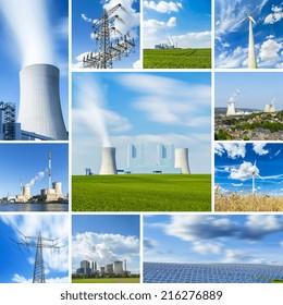 coal power plant energy alternative energy sources windpower nuclear power collage set
