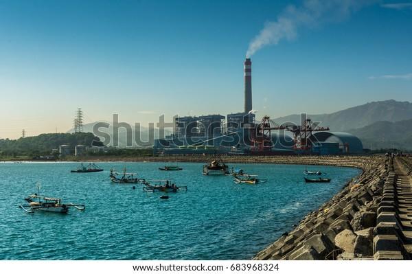 Coal Power Plant  PT. Indonesia Power UJP JABAR 2 1050-megawatt (MW) coal-fired station Pelabuhan Ratu Jawa Barat Indonesia  August 2016