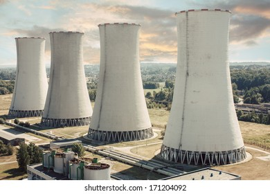 coal power station with four chimneys (cooling towers)