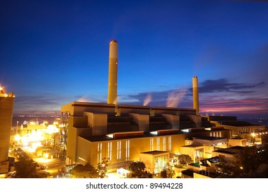 coal power station and night blue sky