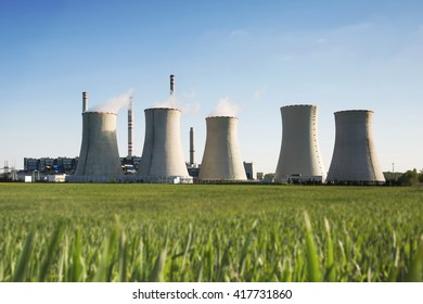 coal power station in sunset , industrial landscape, Pocerady, Czech republic