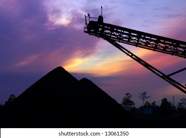 Coal stock pile at sunrise