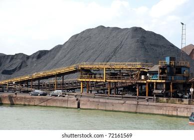Coal terminal in the port of Antwerp (Europe)