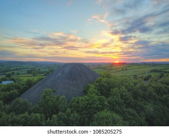 Coal Tip in Sunset Somerset UK from drone
