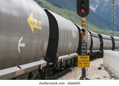 Coal train paused at Arthurs Pass, New Zealand on it's way to the west coast.