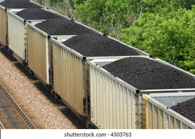 Coal train running in the midwest.