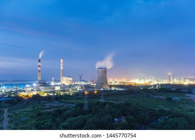 coal-fired power plant near the yangtze river , night view of the industrial area
