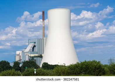 Coal-fired power plant on the Rhine opposite the ferry dock in Orsay