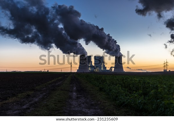 Coal-fired power station at dusk