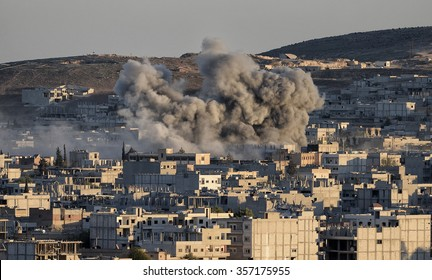 Coalition forces hitting to ISIS target in Kobani discirt in Syria, 22 October 2014, Suruc, Turkey.