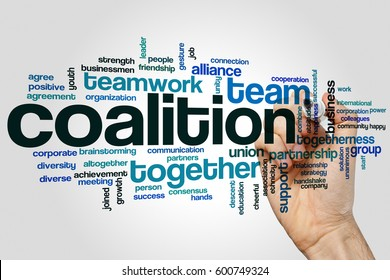 Coalition word cloud concept on grey background.