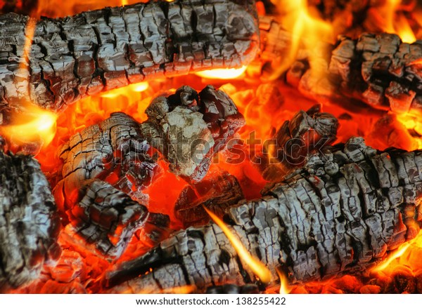 coals burning in the fireplace