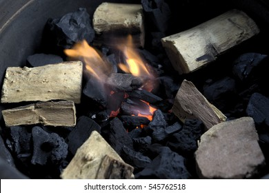 Coals and fire from grill smoker