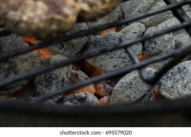 Coals in the grill.