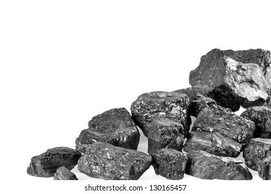 Coals on white background. Copy space.
