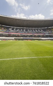 Coapa, Mexico City, February 4, 2017, side view of soccer field of mexican  stadium Azteca