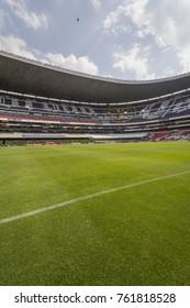 Coapa, Mexico City, February 4, 2017, soocer field of mexican stadium Azteca