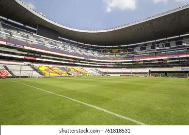 Coapa, Mexico City, February 4, 2017, field towards goal posts of mexican soccer stadium Azteca