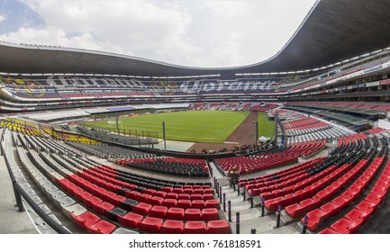 Coapa, Mexico City, February 4, 2017, panorama of the inside of mexican soccer stadium Azteca home to eagles of team america