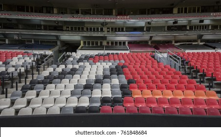 Coapa, Mexico City, February 4, 2017, colorful seating lines within mexican soccer stadium Azteca