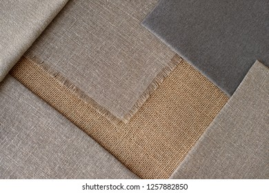Coarse fabric creates a textural background. Texture of burlap and coarse cotton for design. Sew clothes and items of coarse fabric.