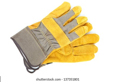 Coarse leather gloves on a white background