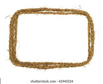 Coarse rope border isolated on white