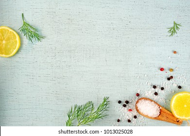 coarse sea salt, peppercorns, lemon, dill