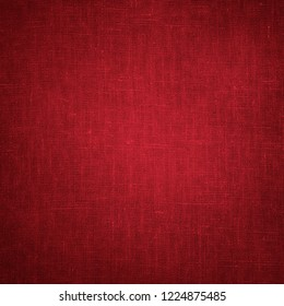 Coarse Vintage Red Canvas, Fabric, Burlap, Sack texture with vignette. Rough grunge background or wallpaper, close up. Square Web banner With Copy Space for design