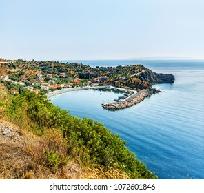 Coast of the Aegean Sea, Peloponnese. Near Leonidio, view of Sampatiki.