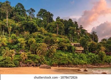 Coast of the Andaman sea at colorful sunset, Khao Lak, Thailand. - Shutterstock ID 1878672826