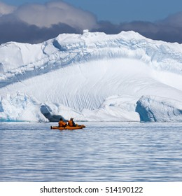 Coast of Antarctica. Glaciers and icebergs of the Southern hemisphere. Global climate change on Earth. Importance of preservation of ecological balance on the planet