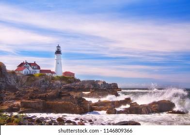 Coast of the Atlantic Ocean. Lighthouse on the shore. Maine. Portland.