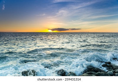 The coast of Atlantic ocean on sunset, Gran Canaria, Canary islands, Spain